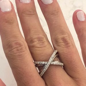 David Yurman pave diamond crossover x ring size 7
